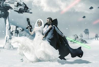 Horas de Photoshop para um casamento no ao melhor estilo Star Wars